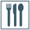 Minimalist graphic of fork, knife, and spoon