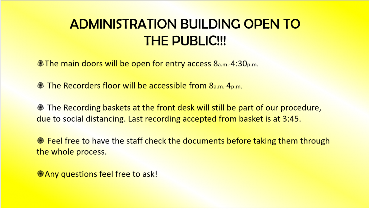 Administration Building Is Open