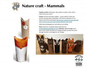 Nature craft - Mammals photo of instruction sheet