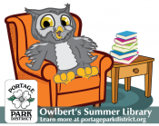 Owlbert sitting in a chair, library logo