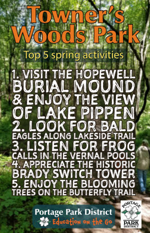 Towners Woods hopewell mound, lake pippen, bald eagles, vernal pools, butterfly trail
