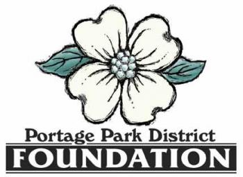 Portage Park District Foundation Logo. White Flower with green leaves on either side