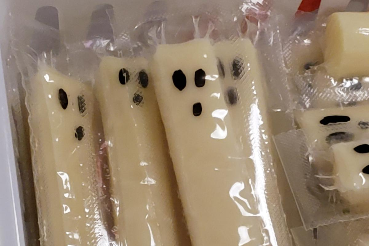 Spooky ghost cheese sticks