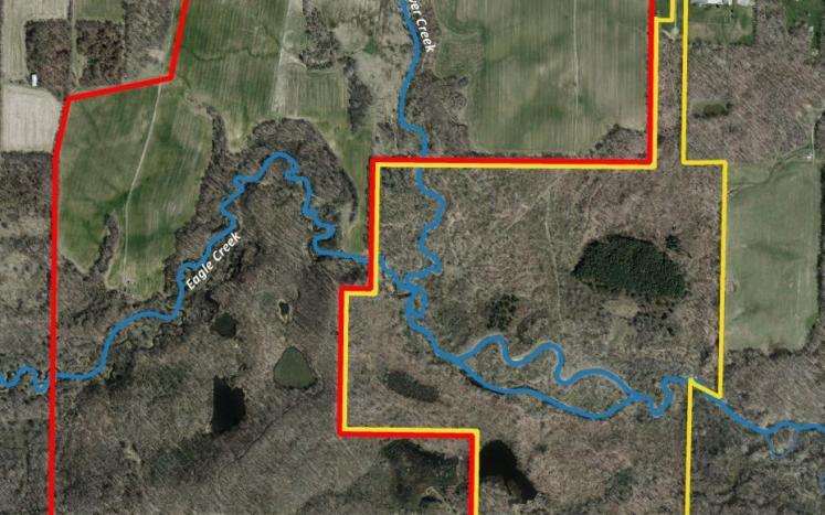 Map of Eagle Creek Greenway property and Hiram property